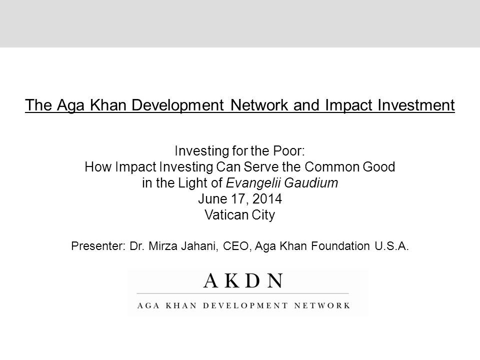 The Aga Khan Development Network and Impact Investment