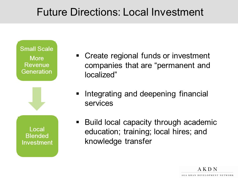 Future Directions: Local Investment