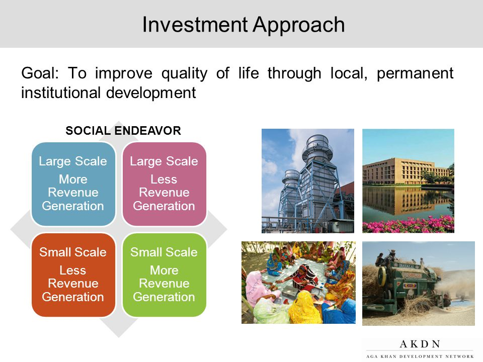 Investment Approach Goal: To improve quality of life through local, permanent institutional development.