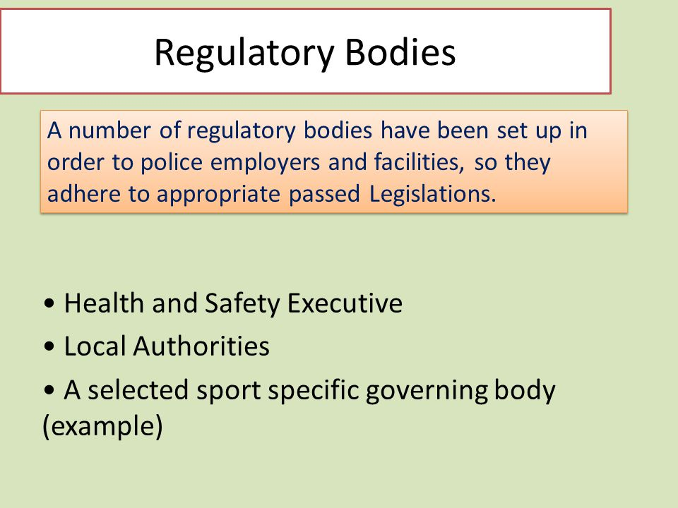 Regulatory bodies checkpoint