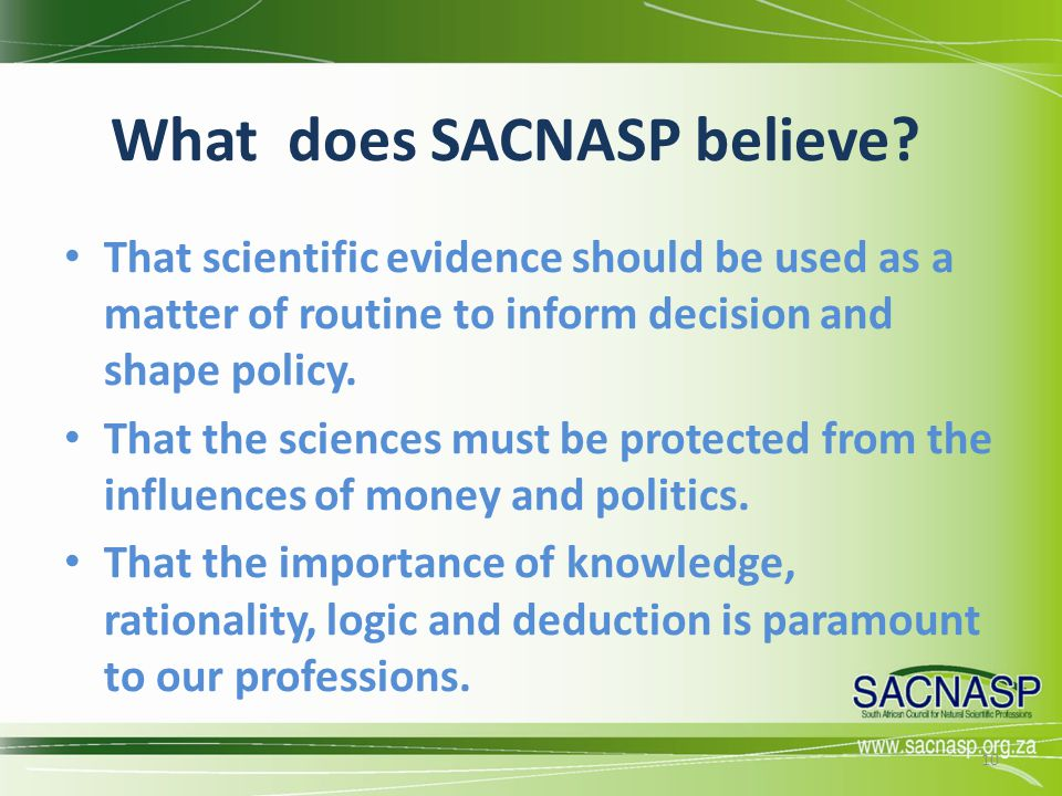 What does SACNASP believe