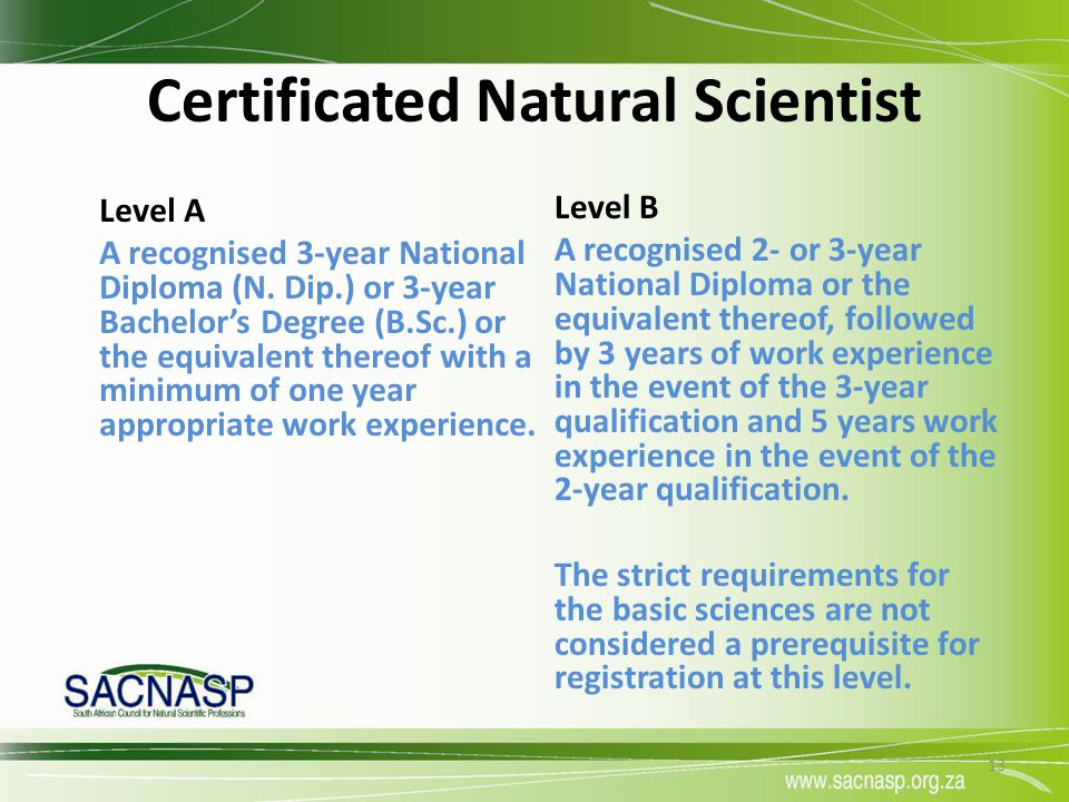 Certificated Natural Scientist