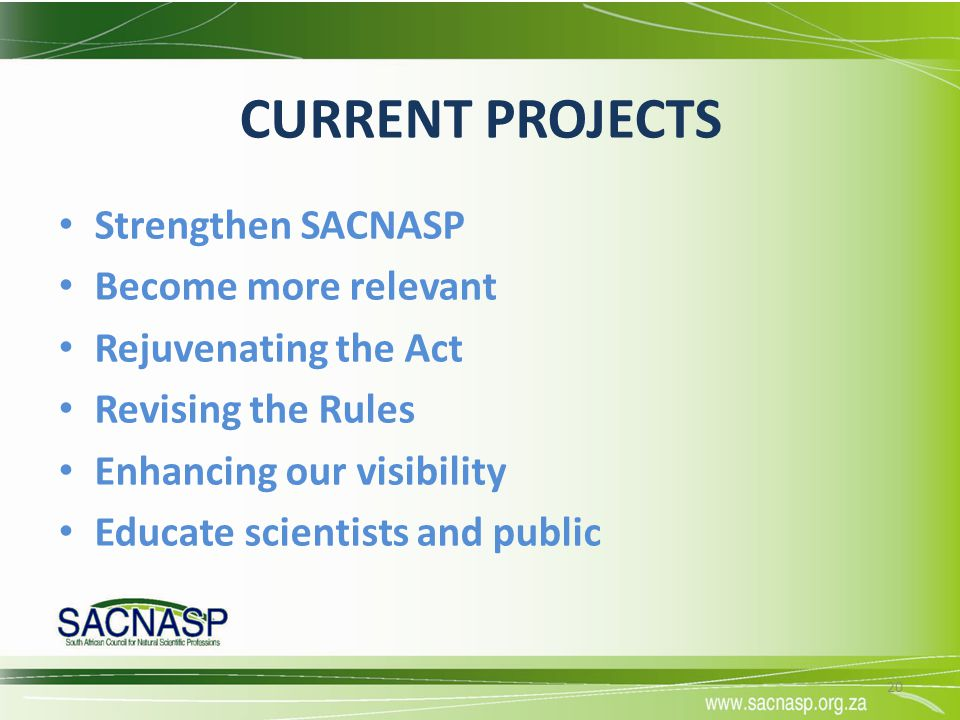 CURRENT PROJECTS Strengthen SACNASP Become more relevant