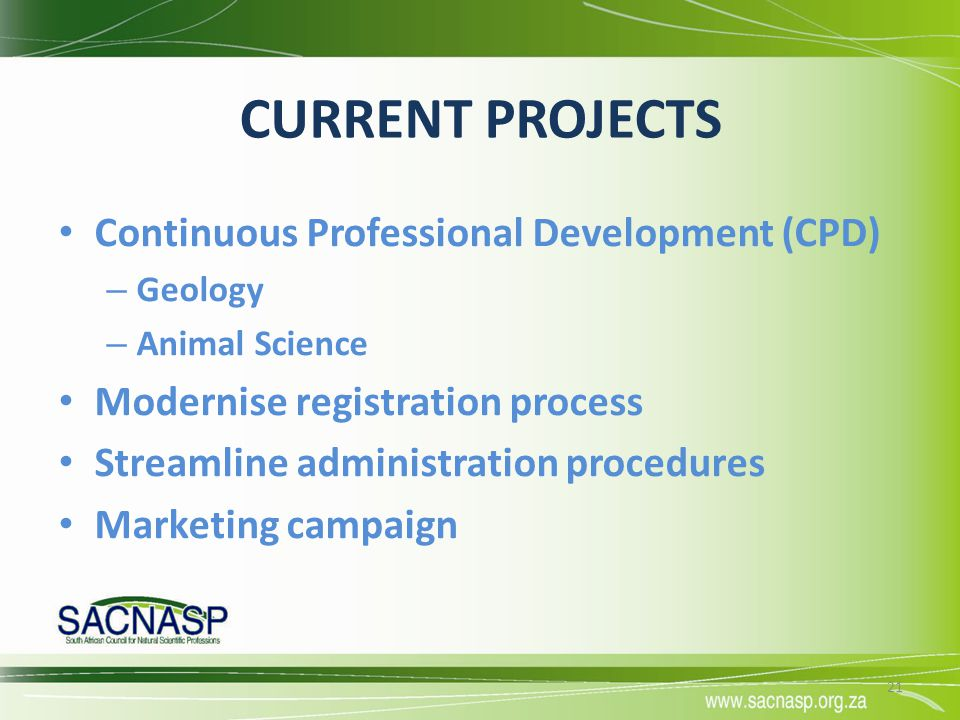 CURRENT PROJECTS Continuous Professional Development (CPD)