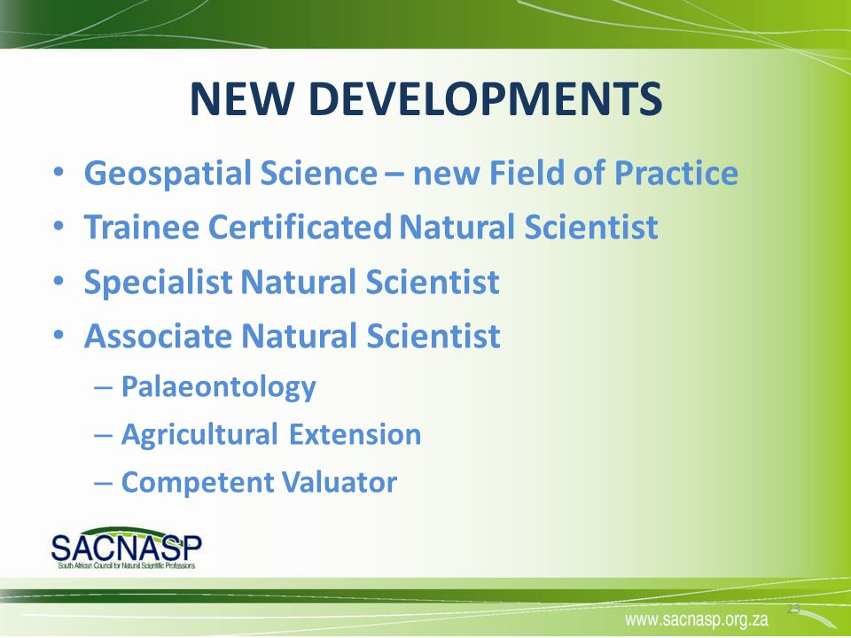 NEW DEVELOPMENTS Geospatial Science – new Field of Practice