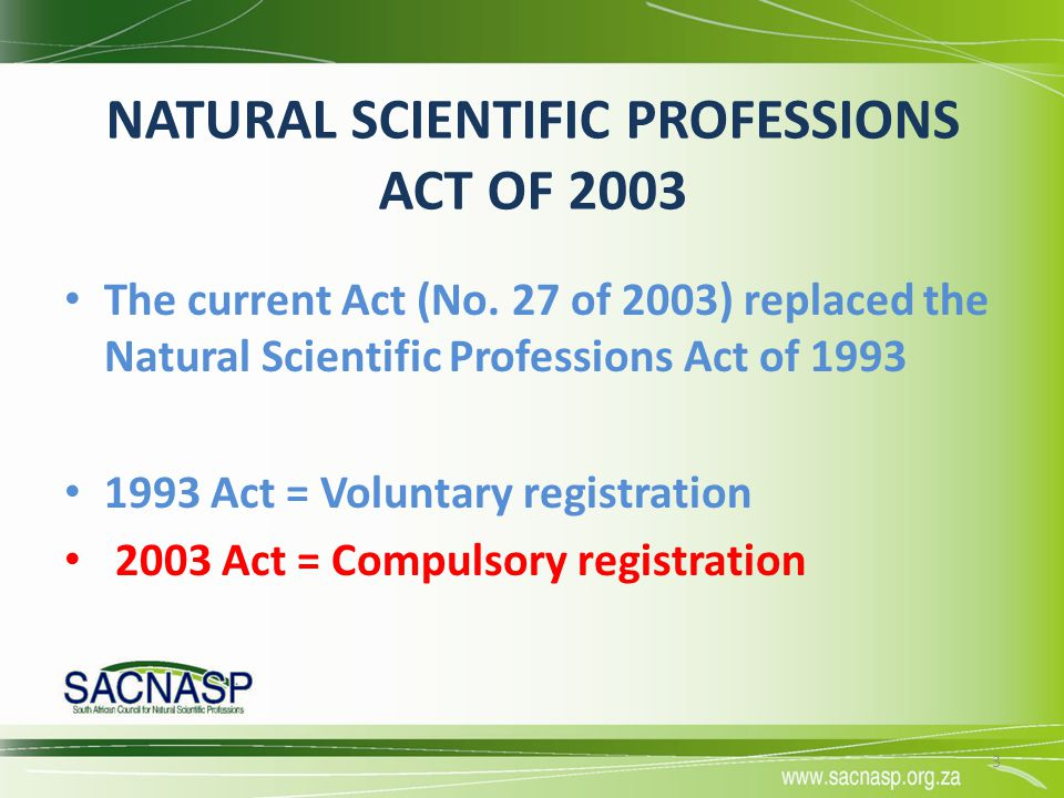NATURAL SCIENTIFIC PROFESSIONS ACT OF 2003