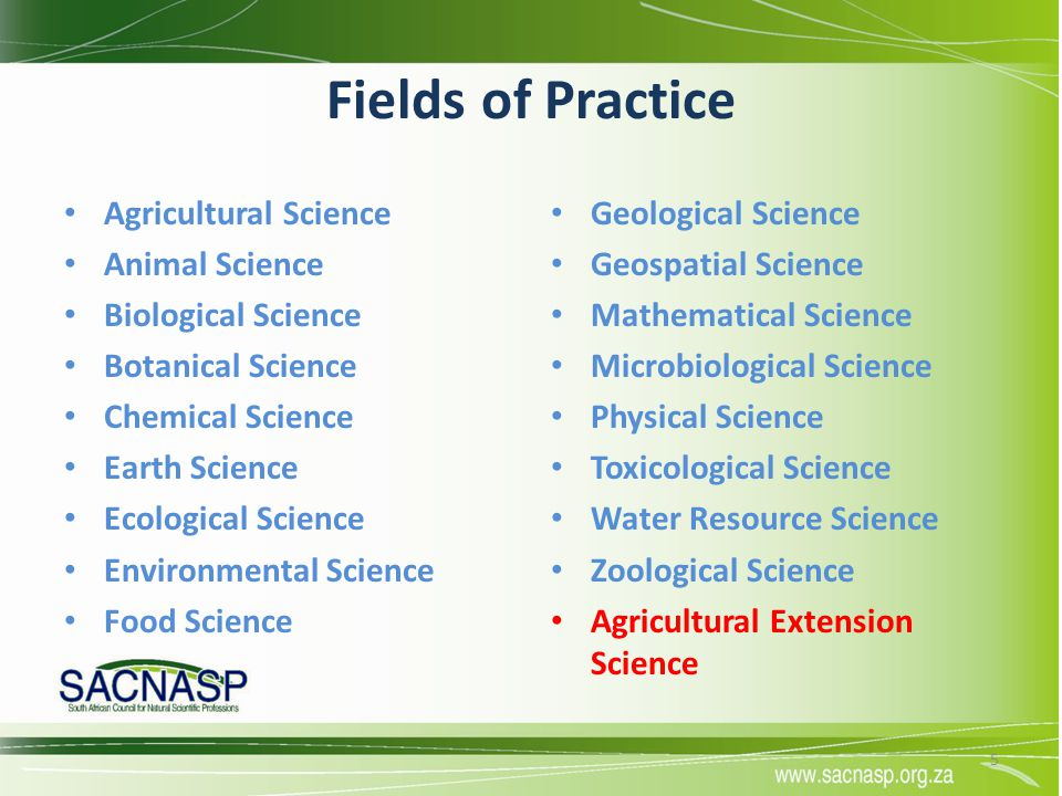 Fields of Practice Agricultural Science Animal Science