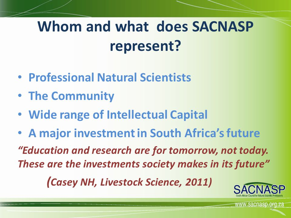Whom and what does SACNASP represent