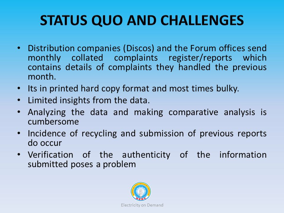 Status Quo and challenges