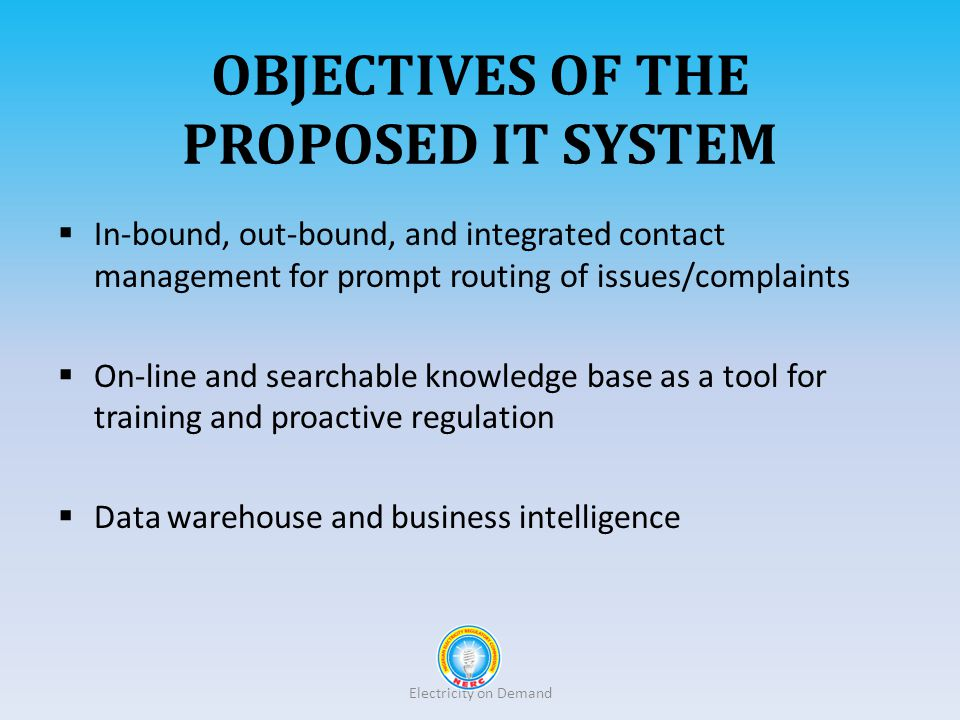 Objectives of the proposed it system