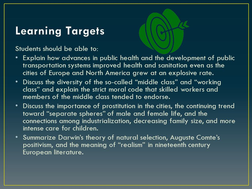 Learning Targets Students should be able to: