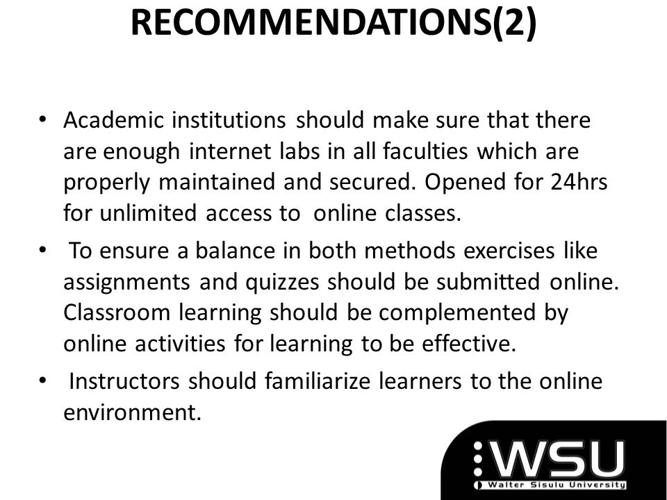 RECOMMENDATIONS(2)