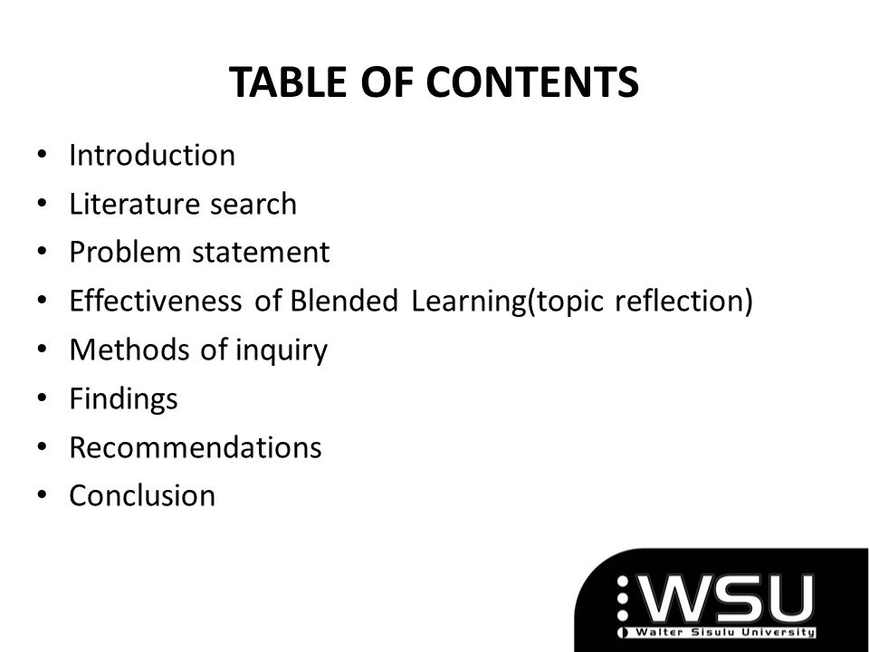TABLE OF CONTENTS Introduction Literature search Problem statement