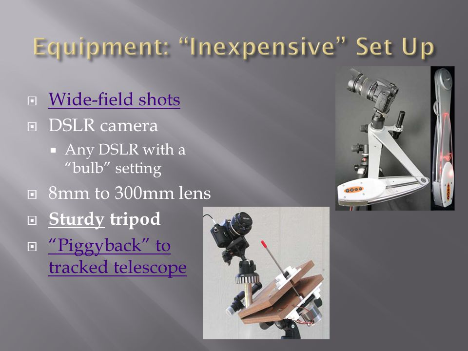 Equipment: Inexpensive Set Up