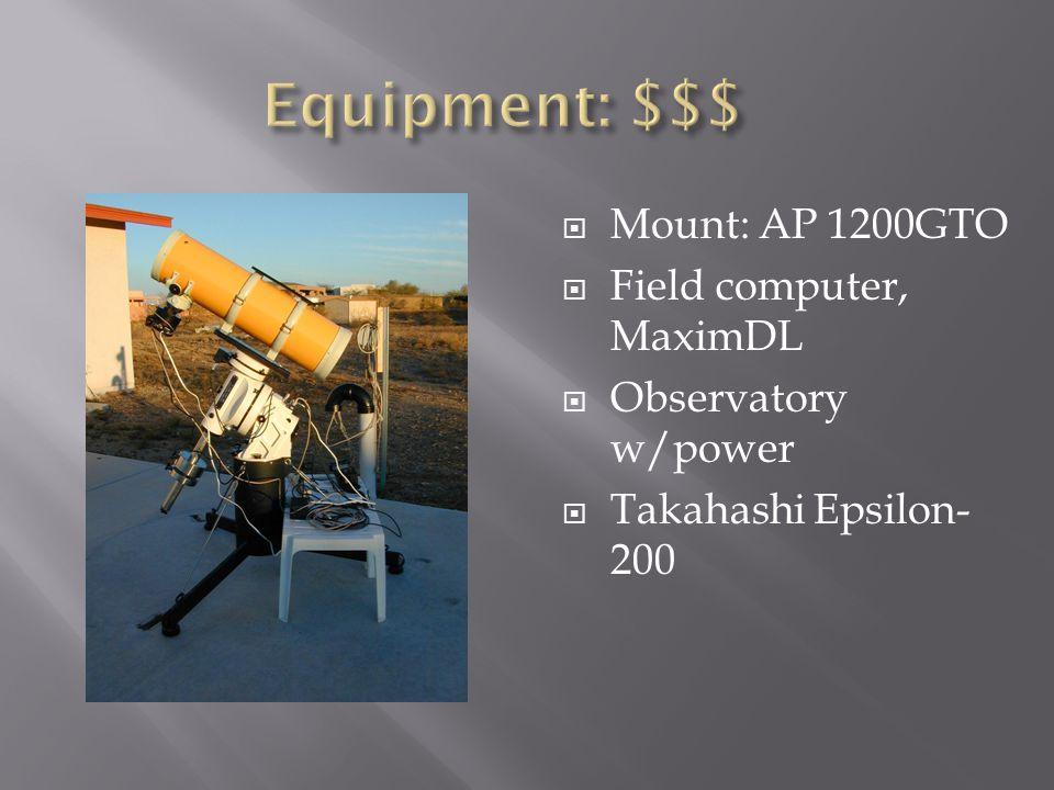 Equipment: $$$ Mount: AP 1200GTO Field computer, MaximDL