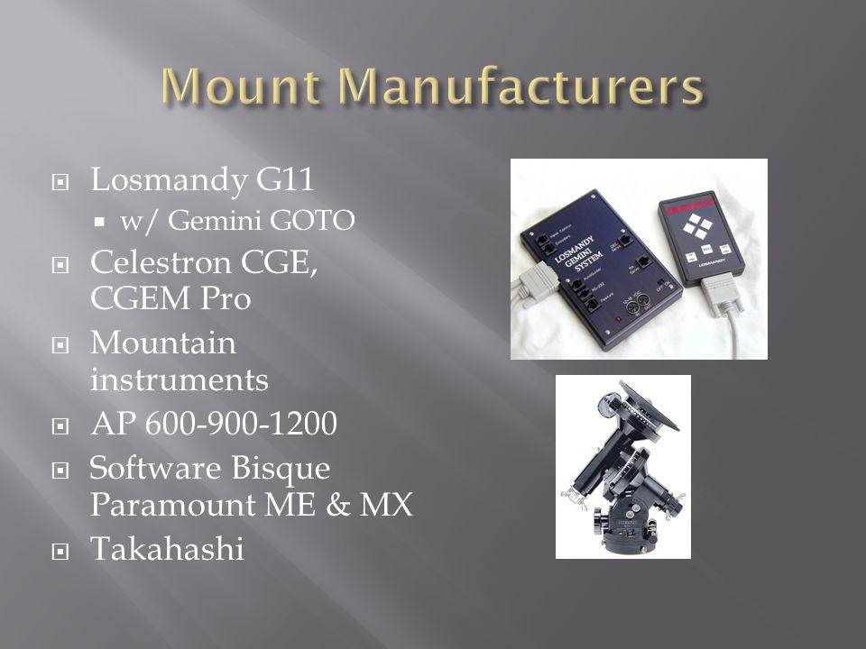 Mount Manufacturers Losmandy G11 Celestron CGE, CGEM Pro