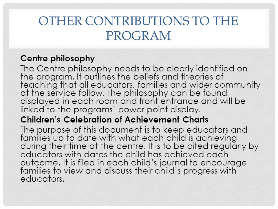 Other contributions to the program