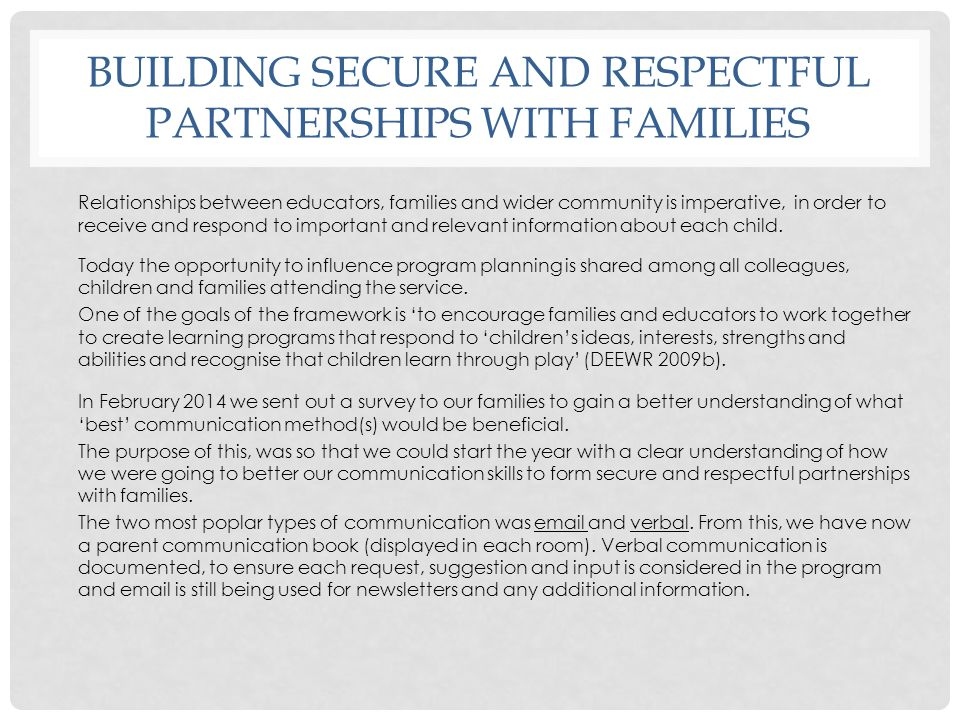 Building secure and respectful partnerships with families