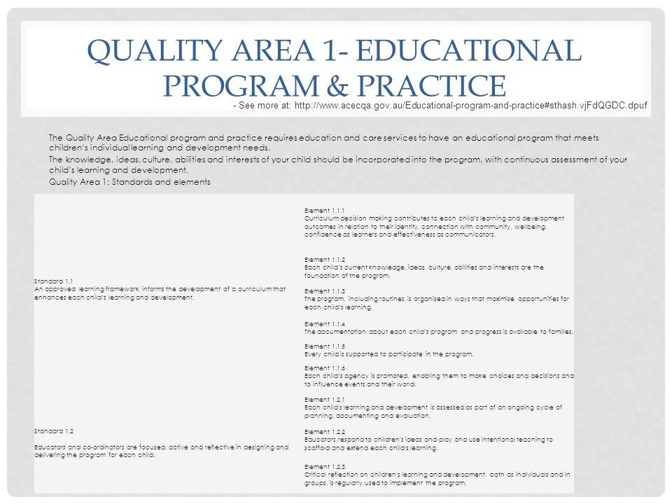 Quality area 1- educational program & practice