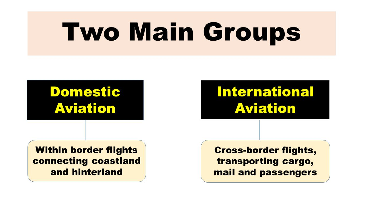Two Main Groups Domestic Aviation International Aviation