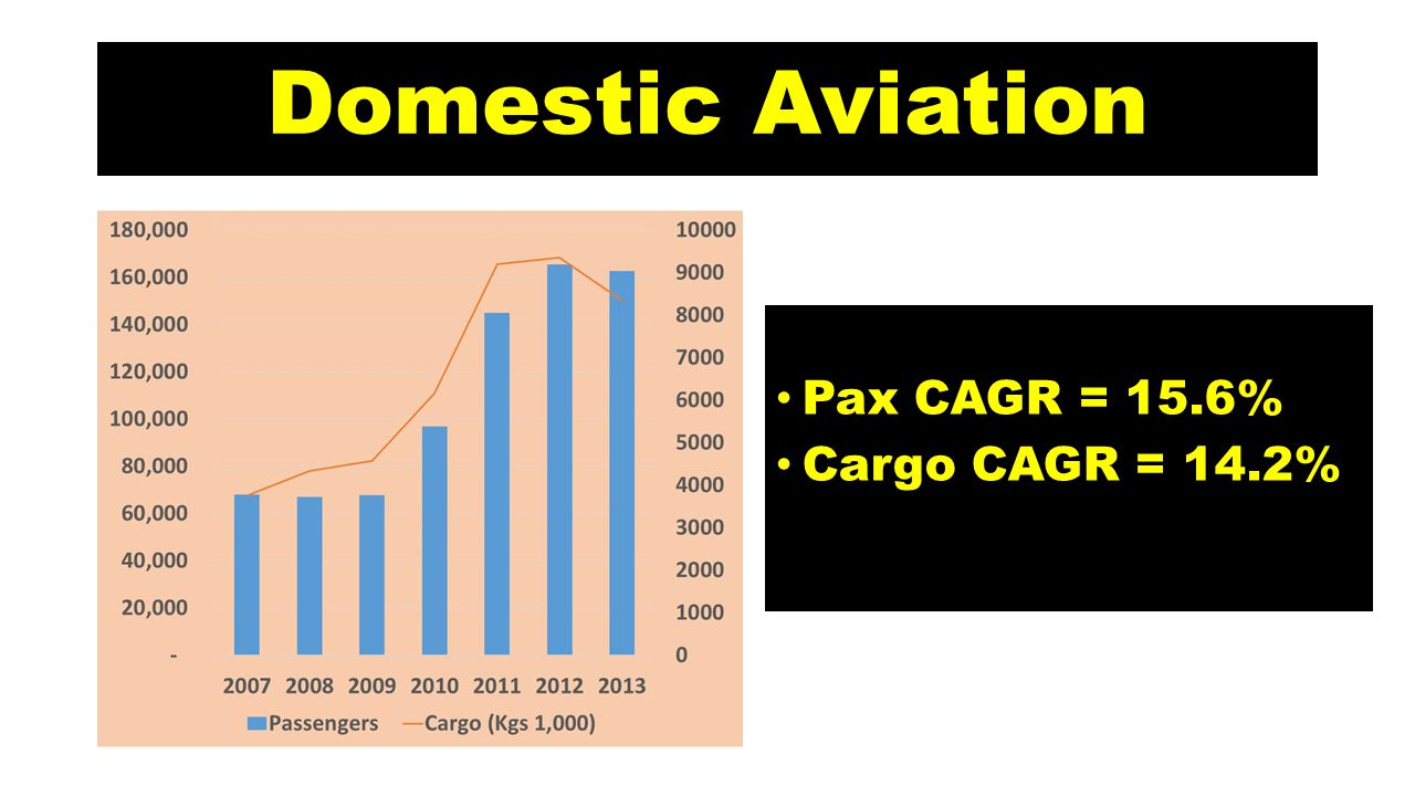 Domestic Aviation Pax CAGR = 15.6% Cargo CAGR = 14.2%