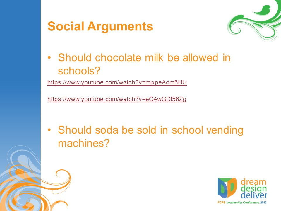 Social Arguments Should chocolate milk be allowed in schools