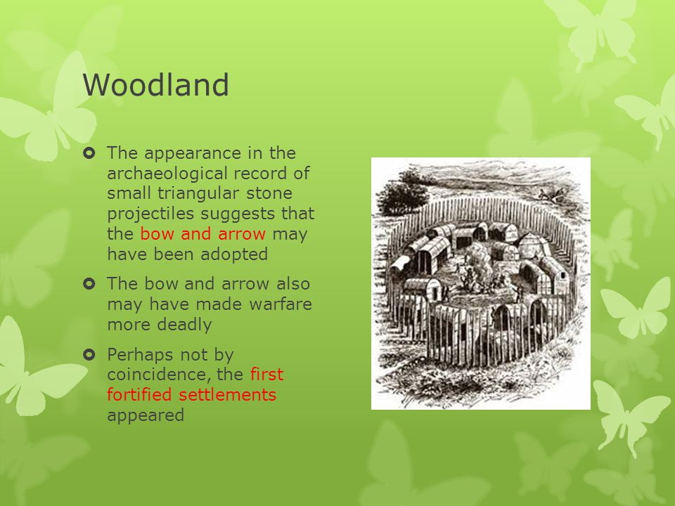 Woodland The appearance in the archaeological record of small triangular stone projectiles suggests that the bow and arrow may have been adopted.