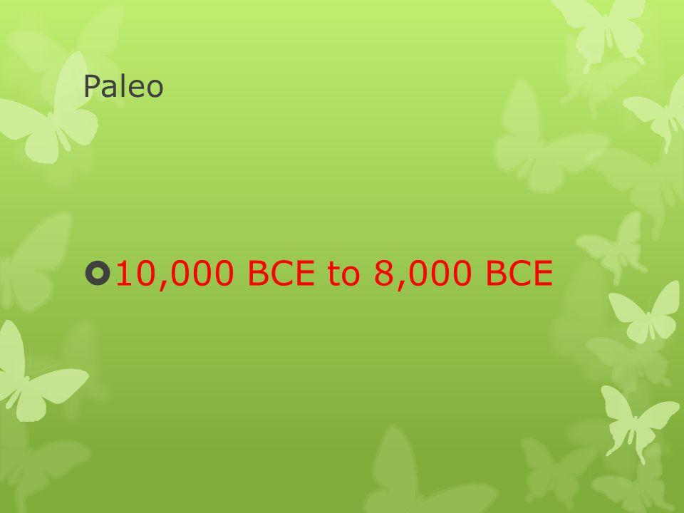 Paleo 10,000 BCE to 8,000 BCE