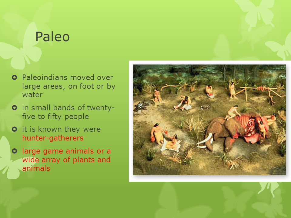 Paleo Paleoindians moved over large areas, on foot or by water