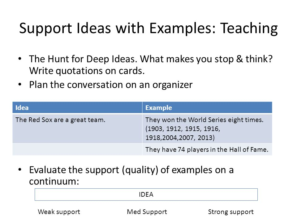 Support Ideas with Examples: Teaching