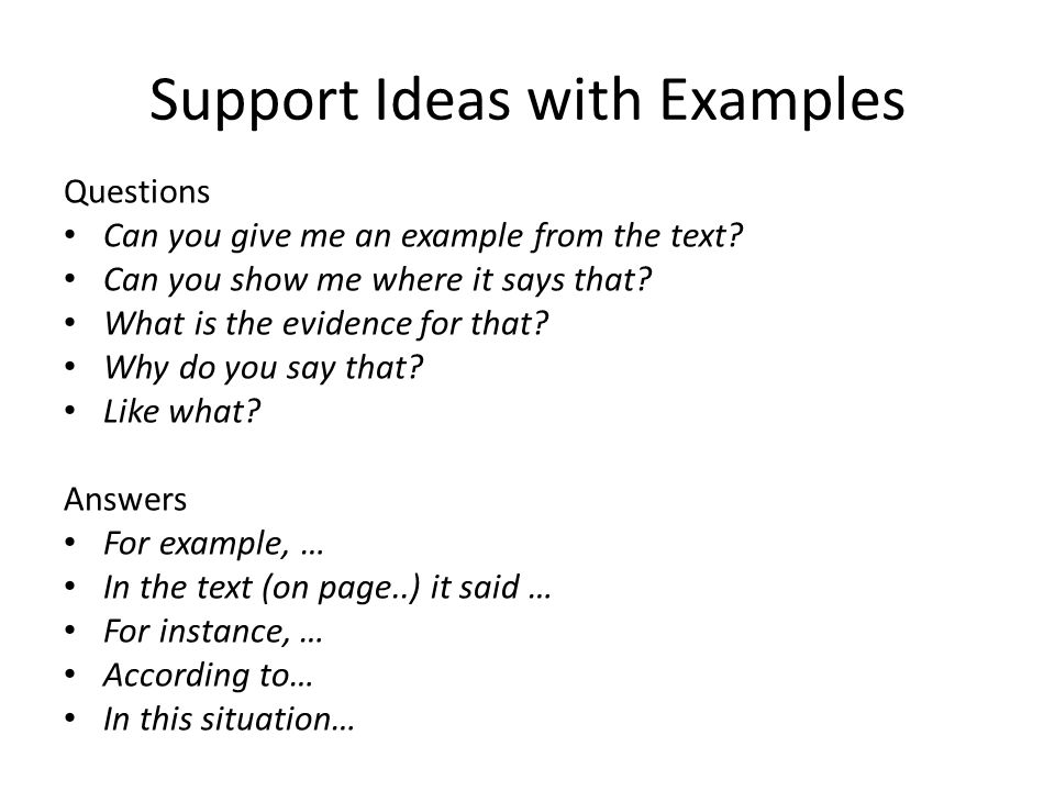 Support Ideas with Examples