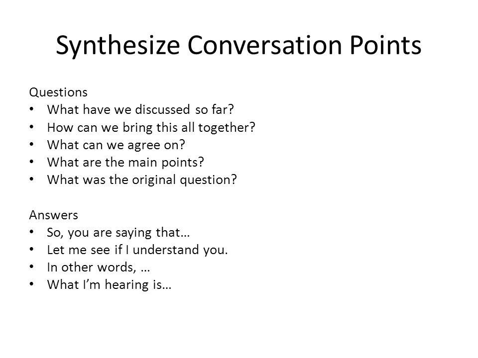 Synthesize Conversation Points
