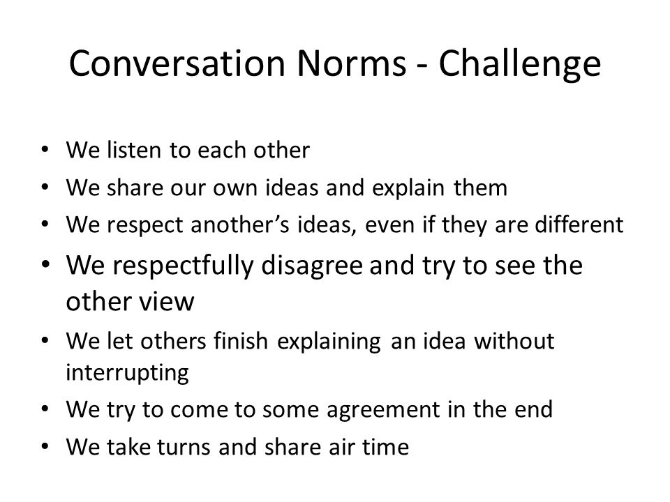 Conversation Norms - Challenge