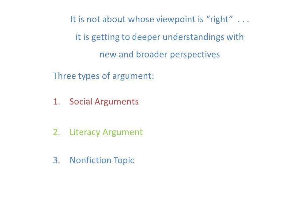 Three types of argument: Social Arguments