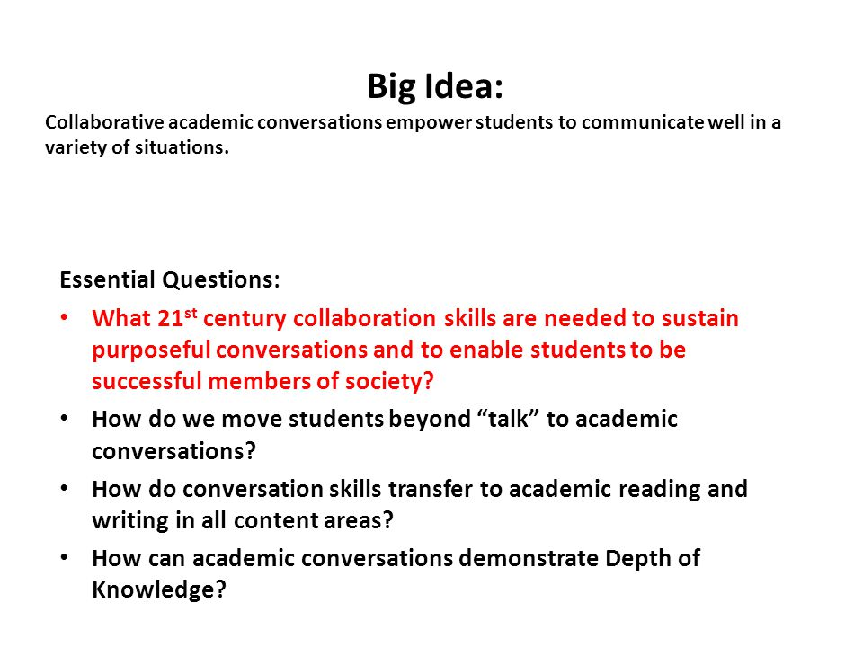 Big Idea: Collaborative academic conversations empower students to communicate well in a variety of situations.