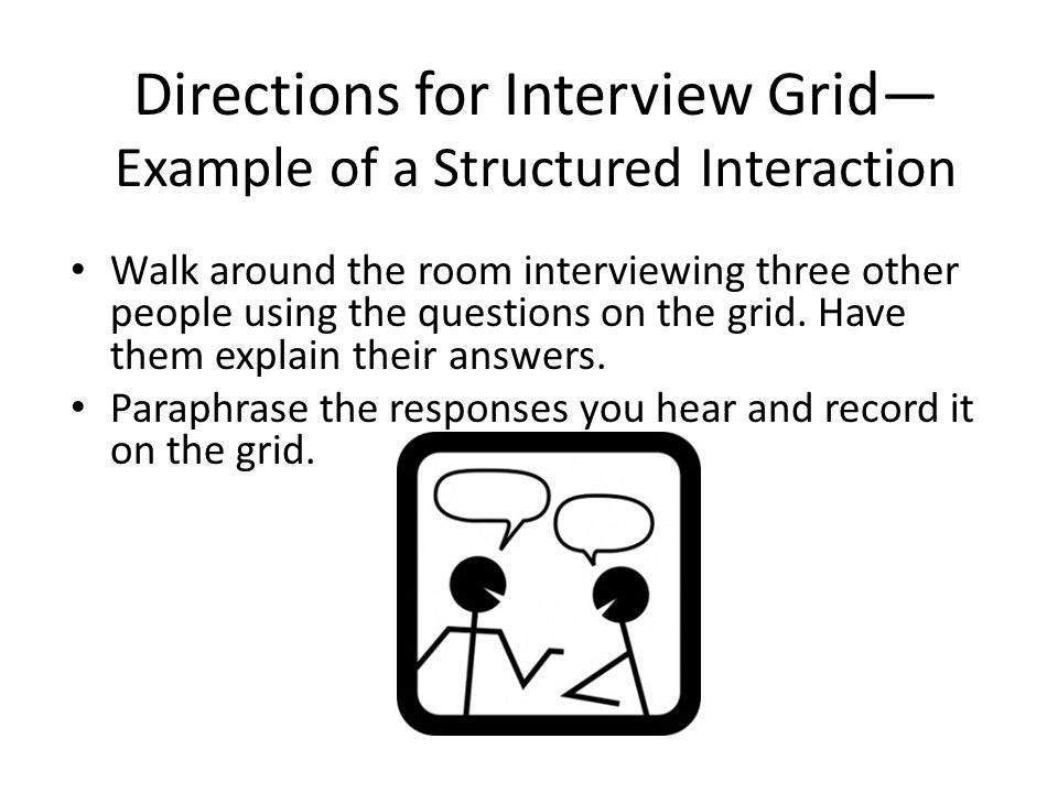 Directions for Interview Grid— Example of a Structured Interaction