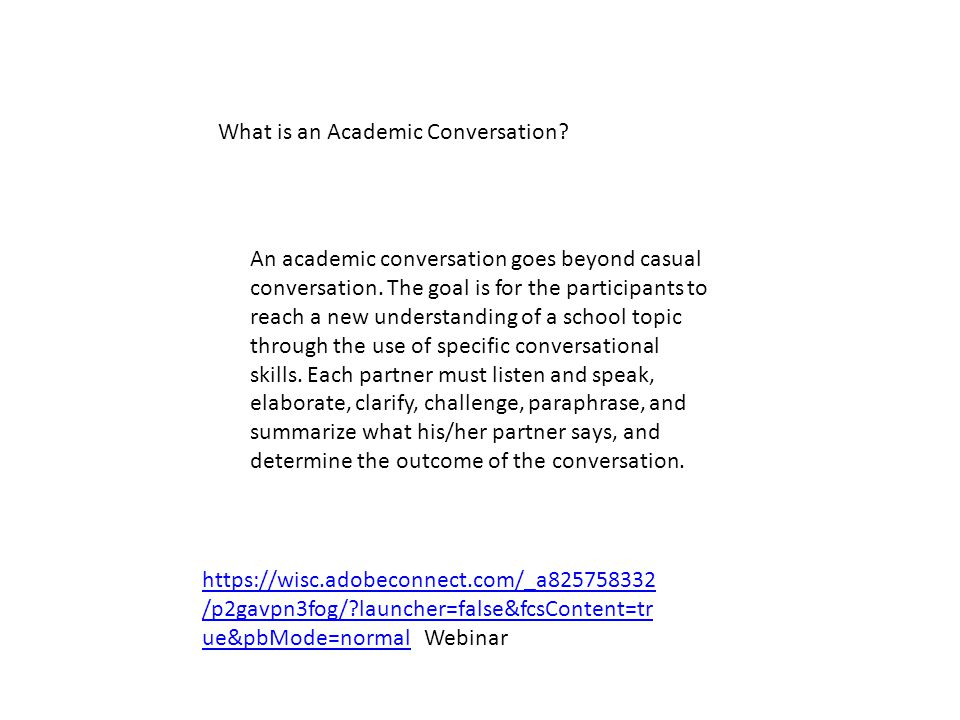 What is an Academic Conversation