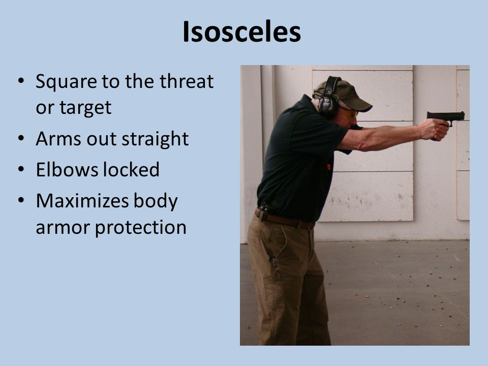 Isosceles Square to the threat or target Arms out straight