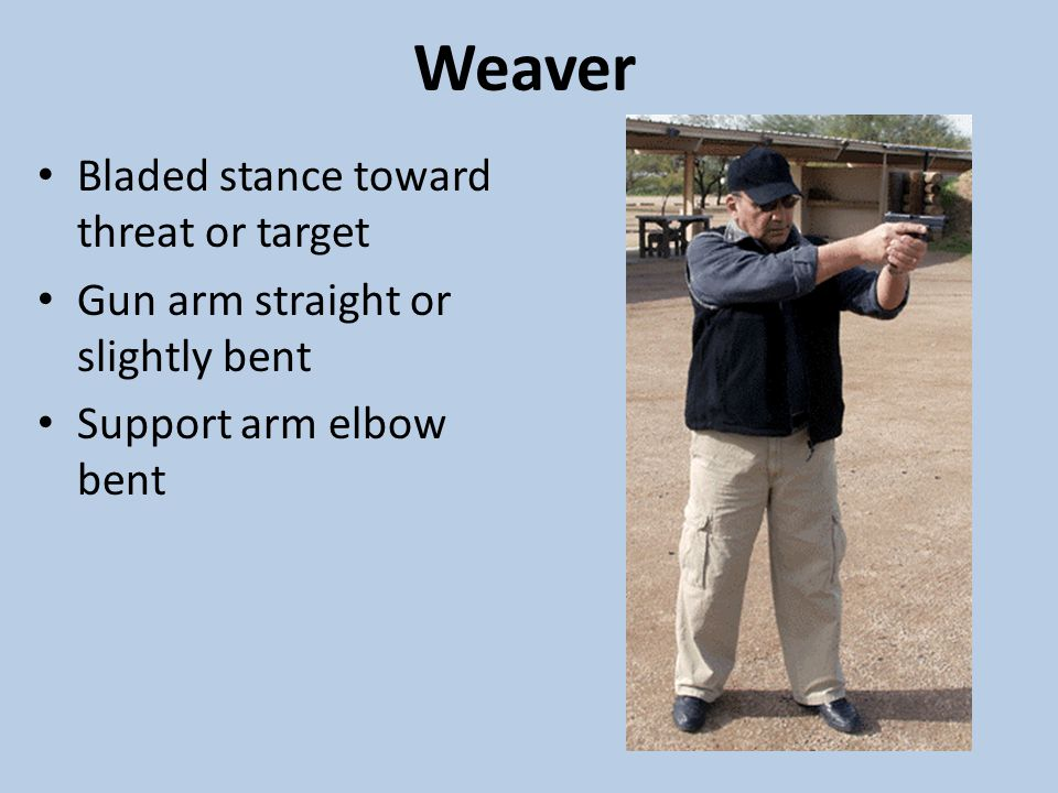 Weaver Bladed stance toward threat or target