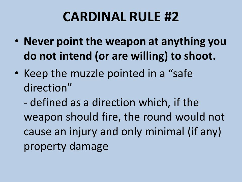 CARDINAL RULE #2 Never point the weapon at anything you do not intend (or are willing) to shoot.