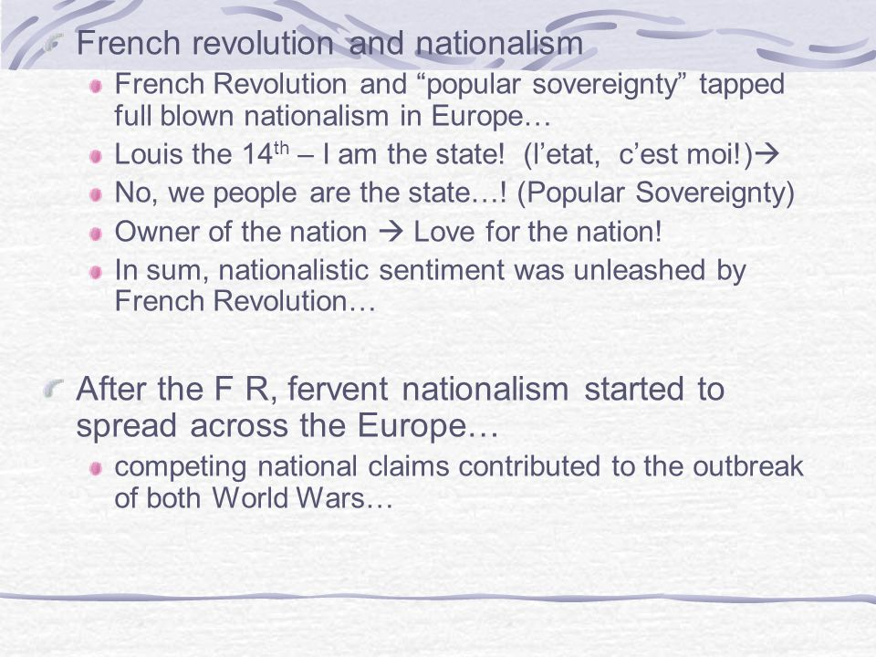 French revolution and nationalism