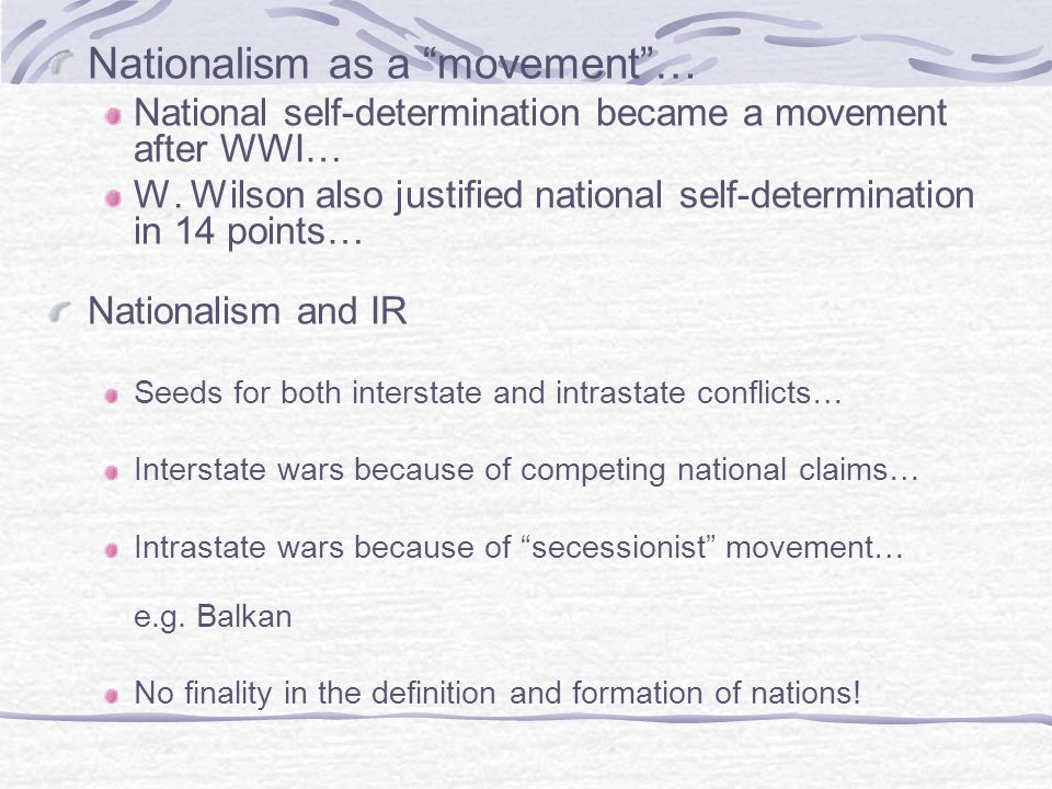Nationalism as a movement …