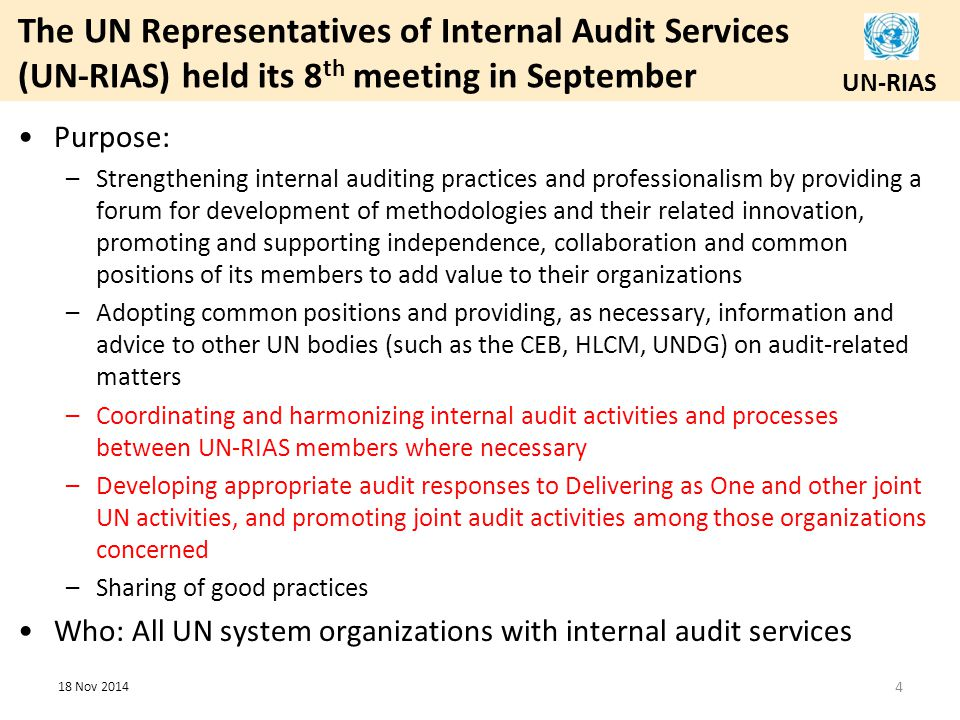 The UN Representatives of Internal Audit Services (UN-RIAS) held its 8th meeting in September