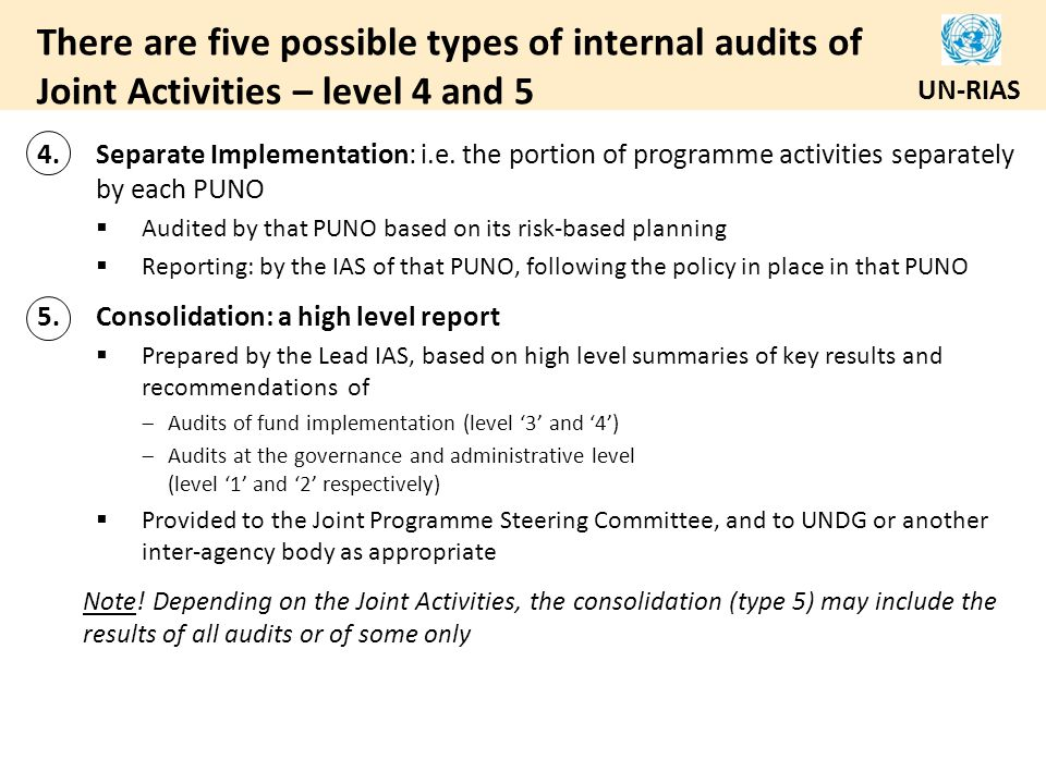 There are five possible types of internal audits of Joint Activities – level 4 and 5