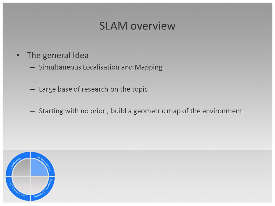 discussion topics slam overview range and odometry data landmarks slam overview the general idea simultaneous localisation and mapping