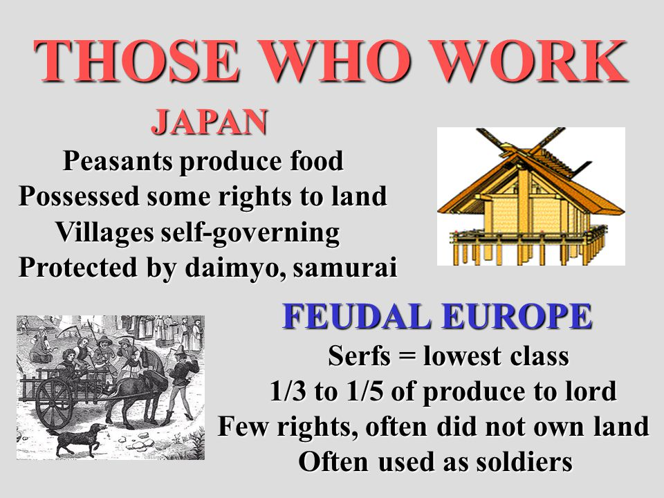 THOSE WHO WORK JAPAN FEUDAL EUROPE Peasants produce food