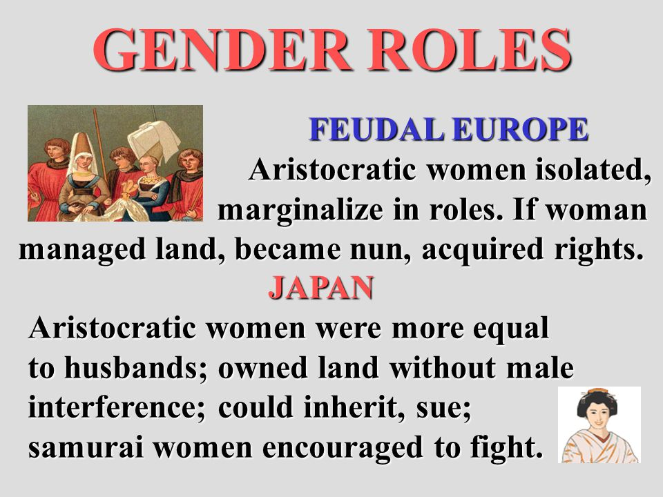 GENDER ROLES FEUDAL EUROPE Aristocratic women isolated,