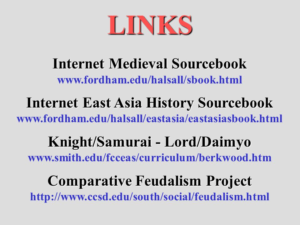 Knight/Samurai - Lord/Daimyo Comparative Feudalism Project
