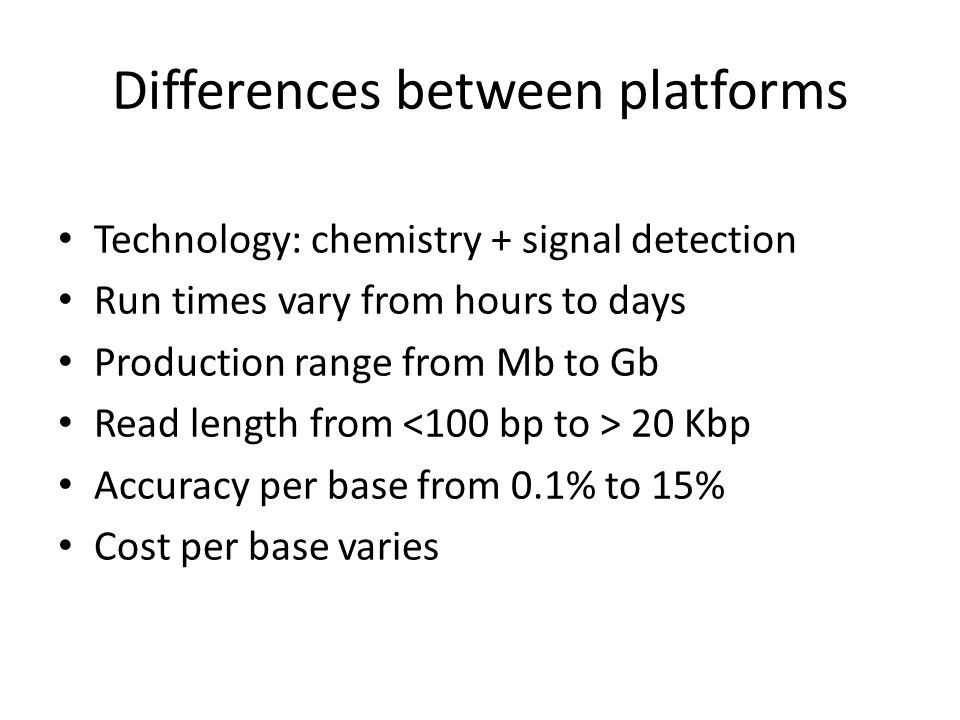 Differences between platforms