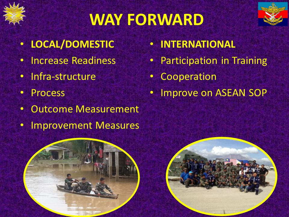 WAY FORWARD LOCAL/DOMESTIC Increase Readiness Infra-structure Process